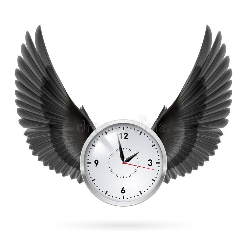 Klok en zwarte vleugels royalty-vrije illustratie
