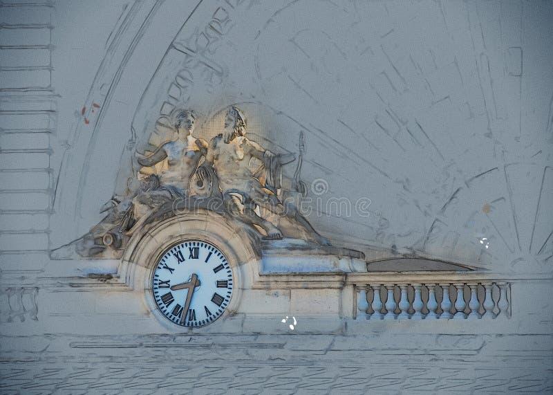 Klok, Gare DE l ` Est, Parijs, Frankrijk stock illustratie