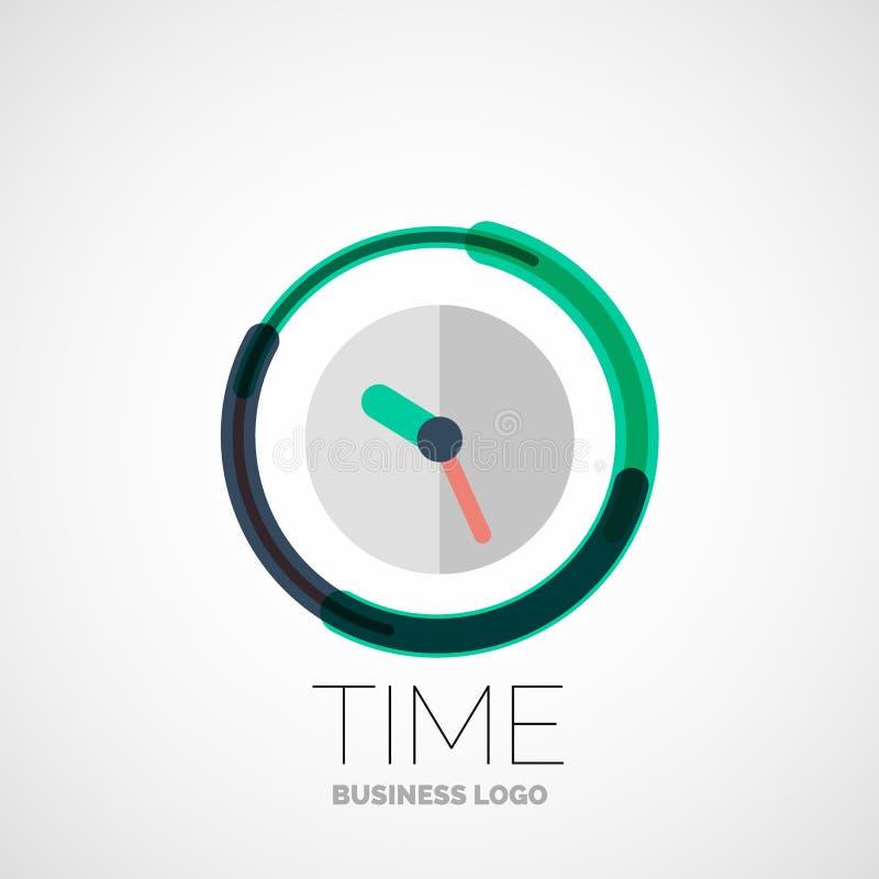 Klok, het embleem van het tijdbedrijf, bedrijfsconcept vector illustratie