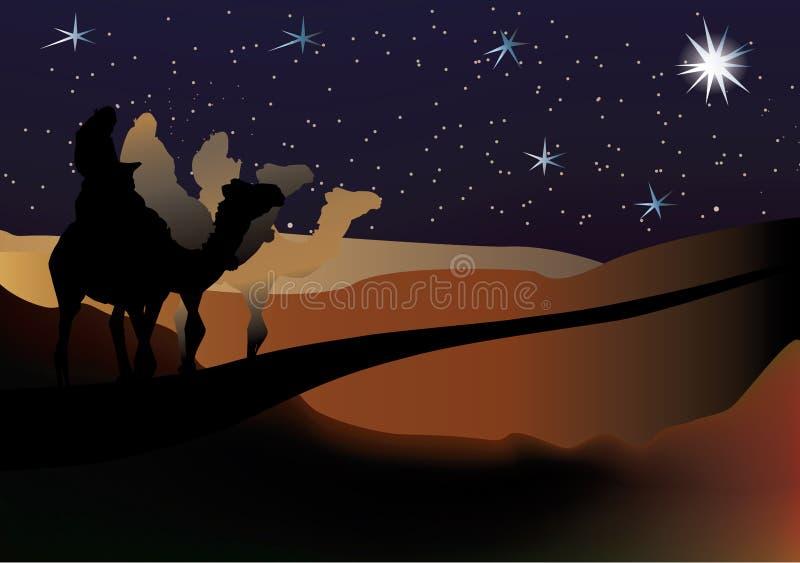 klok julkrubbavektor för 3 män stock illustrationer