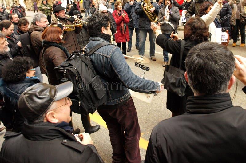 Klok manifestation på Italien arkivbilder