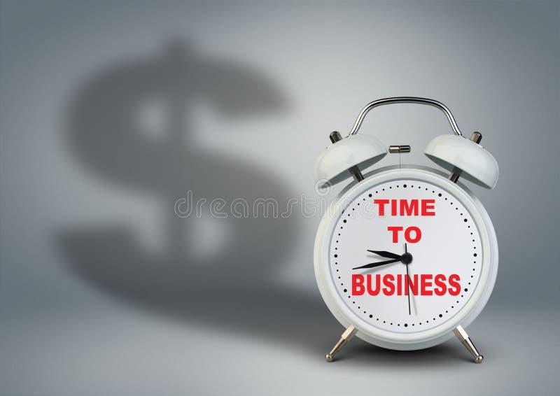 Klok met dollarschaduw, tijd aan opstarten van bedrijvenconcept stock fotografie