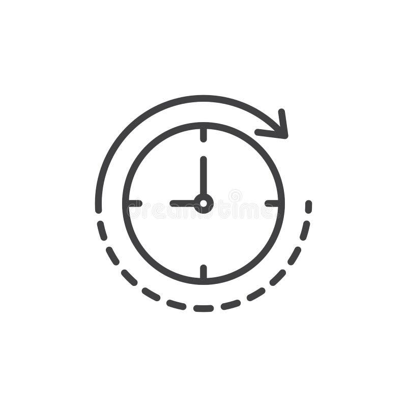 Klok met het overzichtspictogram van de omwentelingspijl vector illustratie