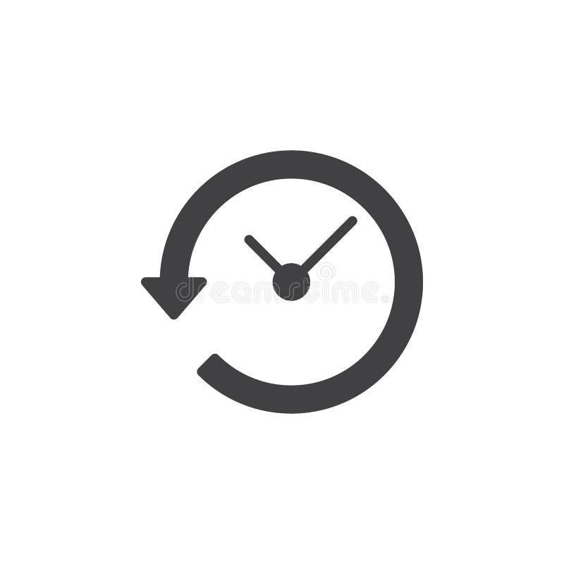 Klok met pijl rond pictogram vector, gevuld vlak teken, stevig die pictogram op wit wordt geïsoleerd stock illustratie