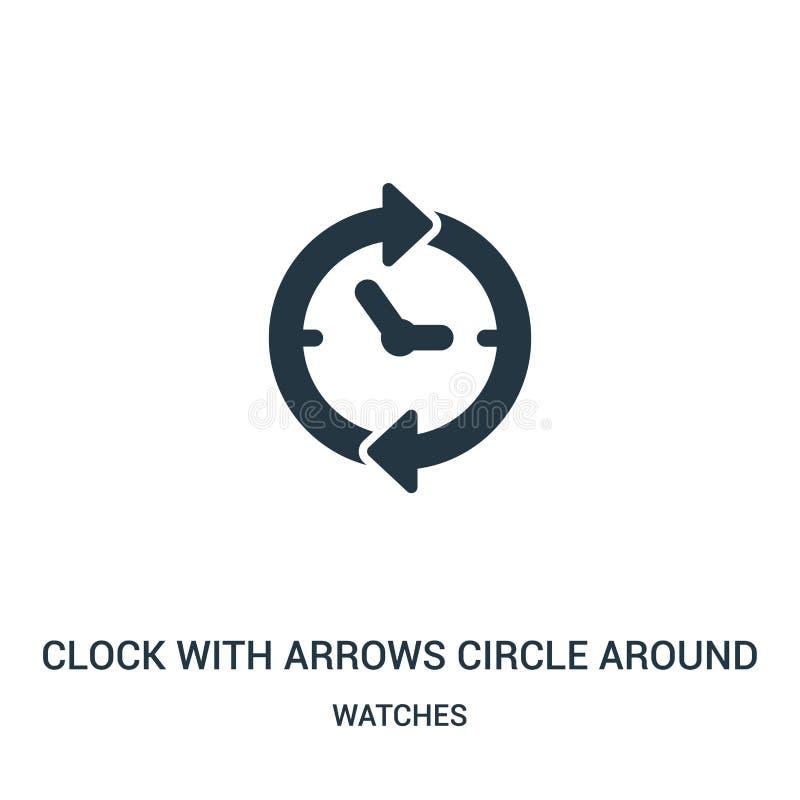 klok met pijlencirkel rond pictogramvector van horlogesinzameling Dunne lijnklok met pijlencirkel rond de vector van het overzich stock illustratie