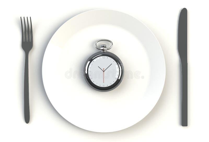 Klok op plaat, mes en vork op witte lijst royalty-vrije illustratie