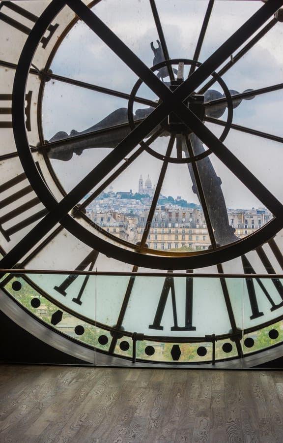 Klok in Orsay-museum, Parijs stock afbeeldingen