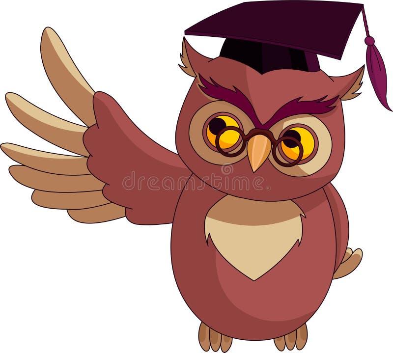 klok owl för locktecknad filmavläggande av examen