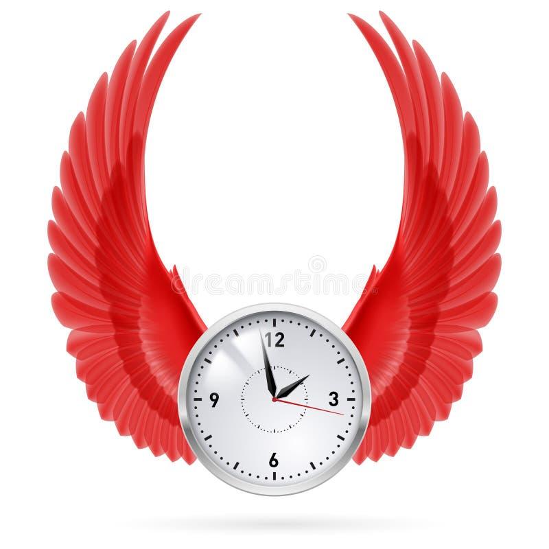 Klok Rode vleugels stock illustratie