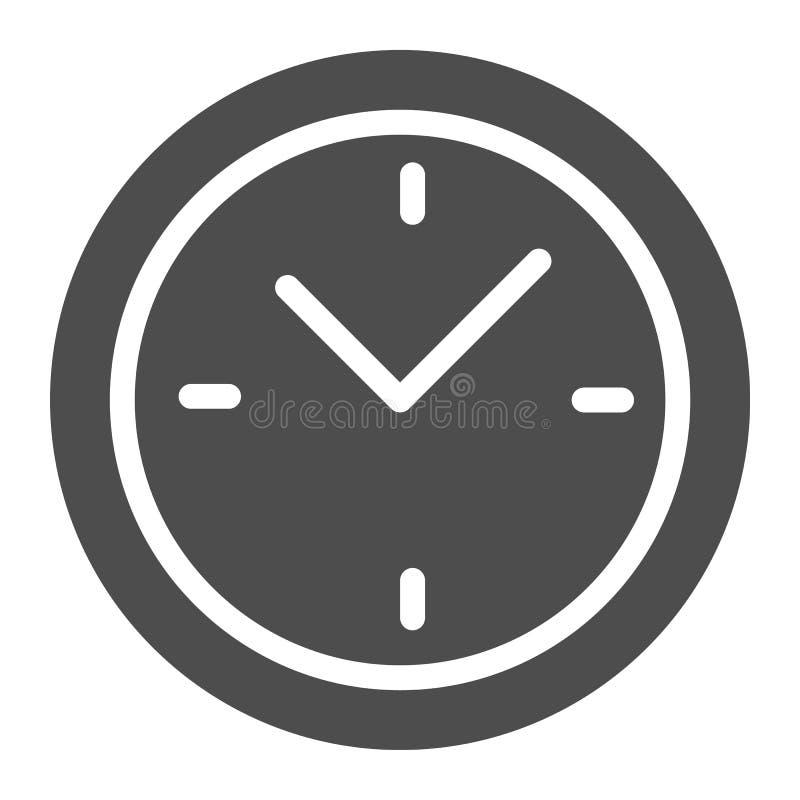 Klok Stevig Pictogram Tijd vectordieillustratie op wit wordt geïsoleerd Het ontwerp van de wijzerplaat glyph stijl, voor Web dat  vector illustratie