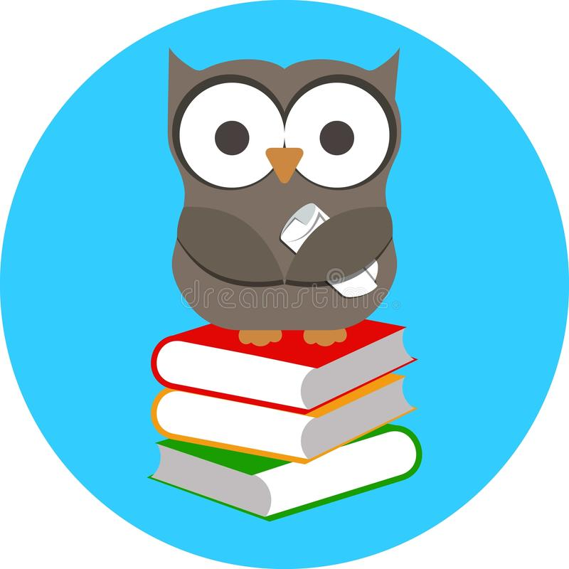Klok uggla och bunt av böcker stock illustrationer