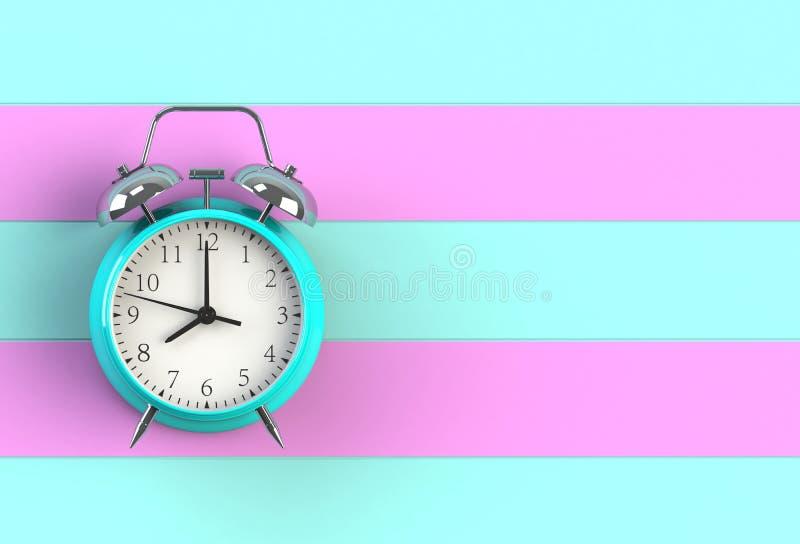 Klok van het alarm op blauw en roze houten bord vector illustratie