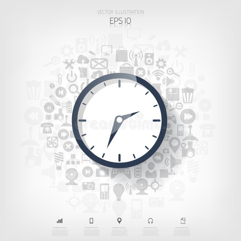 Klok vlak pictogram De tijdconcept van de wereld Bedrijfs achtergrond Gouden Tekst op Donkere Achtergrond Dagelijkse infographic royalty-vrije illustratie