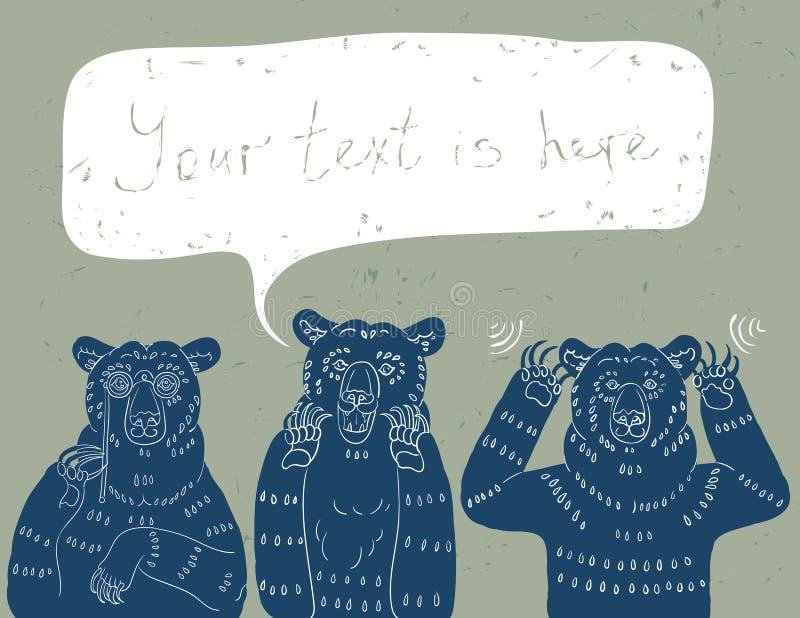 kloka björnar tre royaltyfri illustrationer