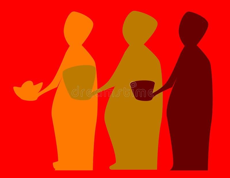 kloka män tre stock illustrationer