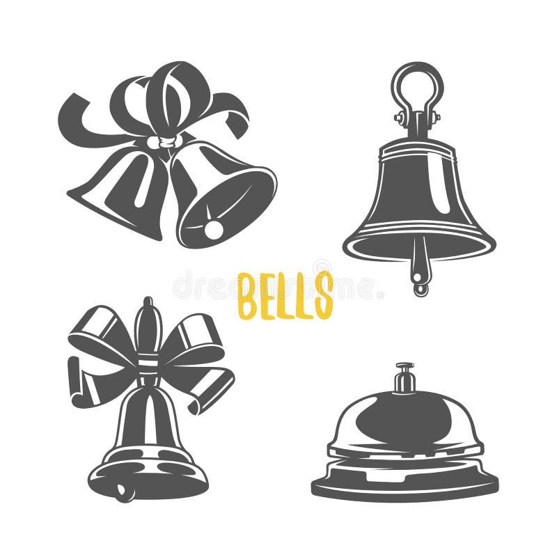 Klokillustratie logotypes en kentekens royalty-vrije illustratie