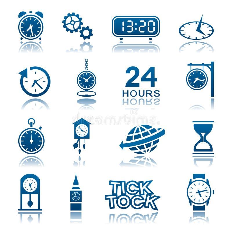 Klokken en horlogespictogrammen vector illustratie