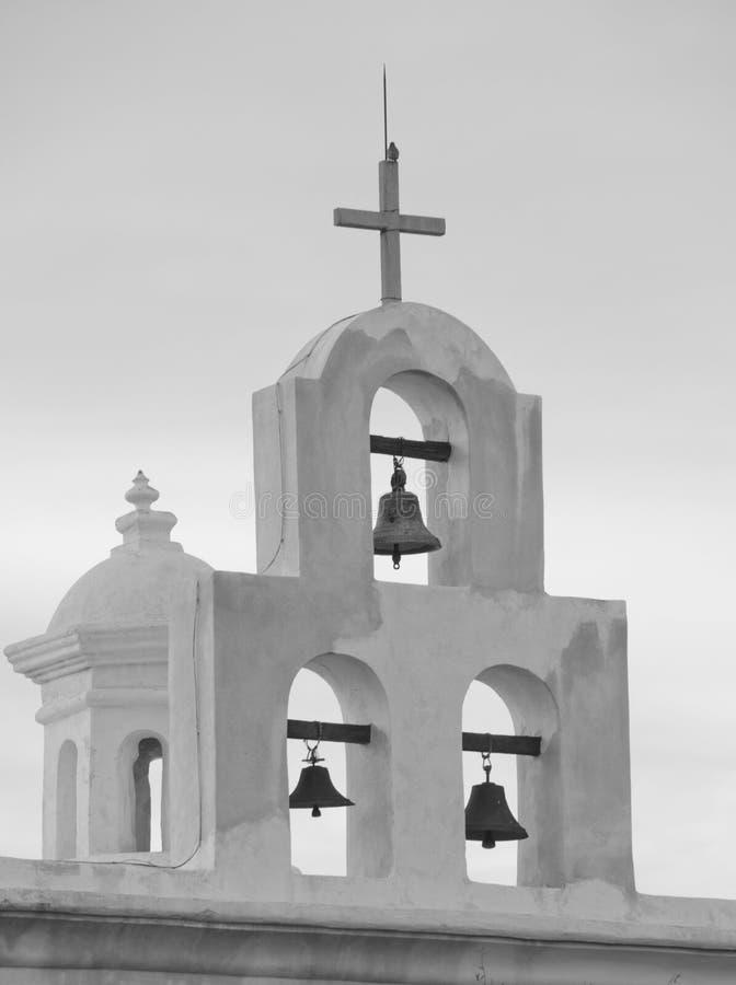Klokken van de Kapel bij San Xavier del Bac Mission stock foto's