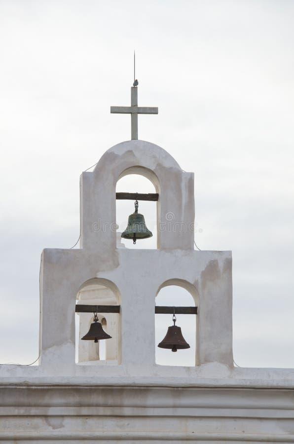 Klokken van de Kapel bij San Xavier del Bac Mission stock afbeeldingen