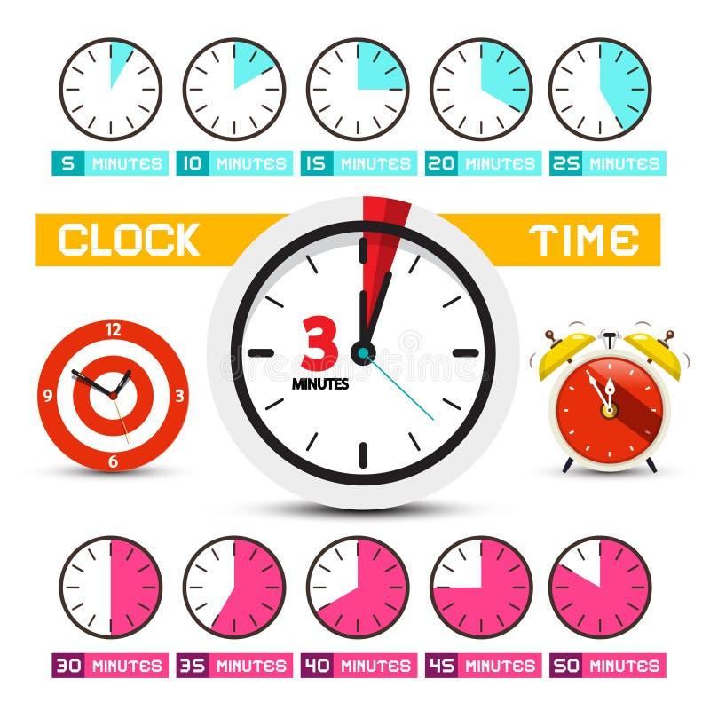 klokken Vectortijdpictogrammen stock illustratie