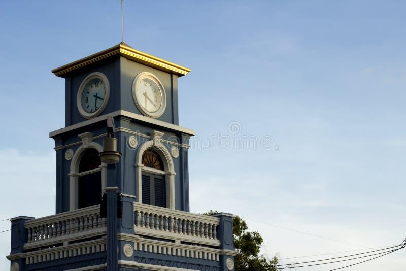 Klokketoren bij Surin-Cirkel, Phuket-Stad royalty-vrije stock afbeeldingen