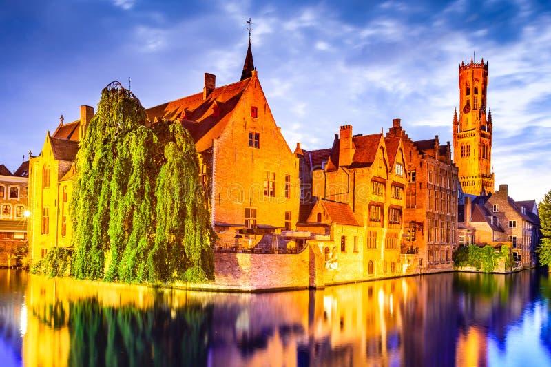 Klokketoren, Brugge, België stock afbeelding