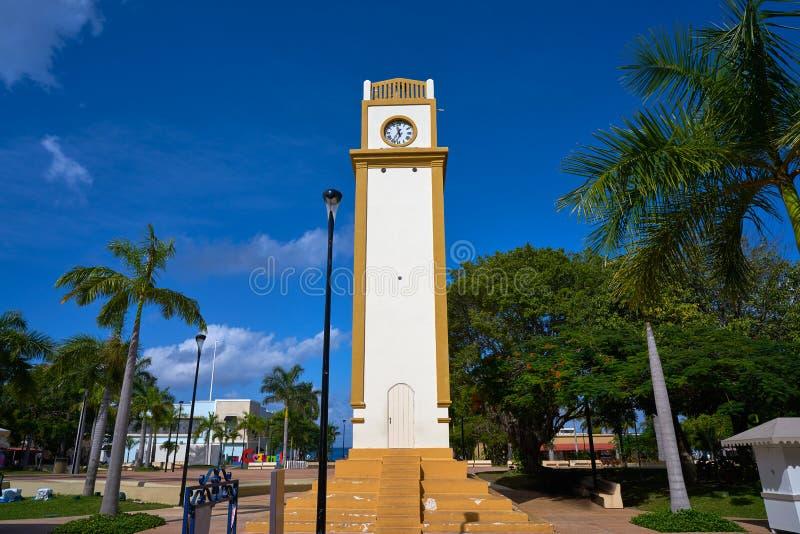 Klokketoren in Cozumel-Eiland Mexico royalty-vrije stock foto's
