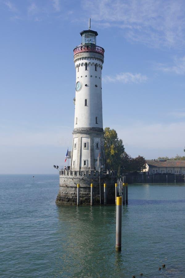 Klokketoren en vuurtoren #1, haven Lindau royalty-vrije stock foto