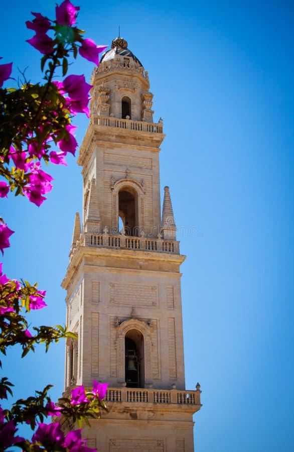 Klokketoren, Lecce Kathedraal, Italië stock afbeeldingen