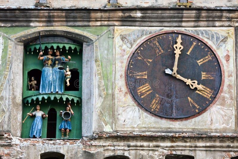 Klokketoren, Sighisoara, Roemenië stock afbeeldingen