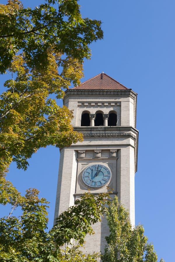 Klokketoren in Spokane, Washington. royalty-vrije stock afbeelding
