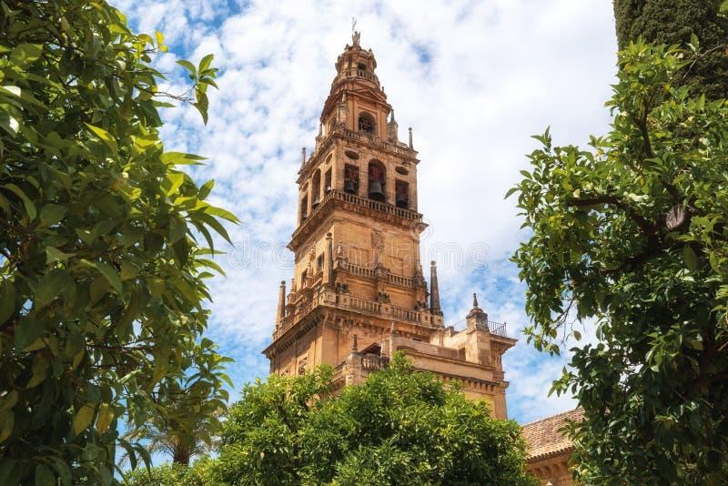 Klokketoren Torre DE Alminar van de Mezquita Kathedraal de Grote Moskee in Cordoba, Spanje stock afbeeldingen