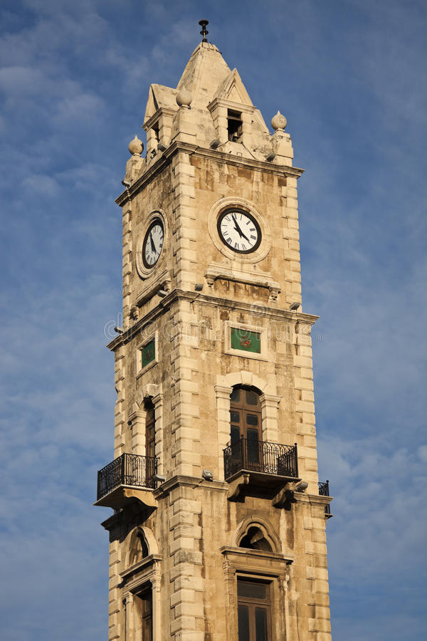 Klokketoren in Tripoli stock afbeeldingen
