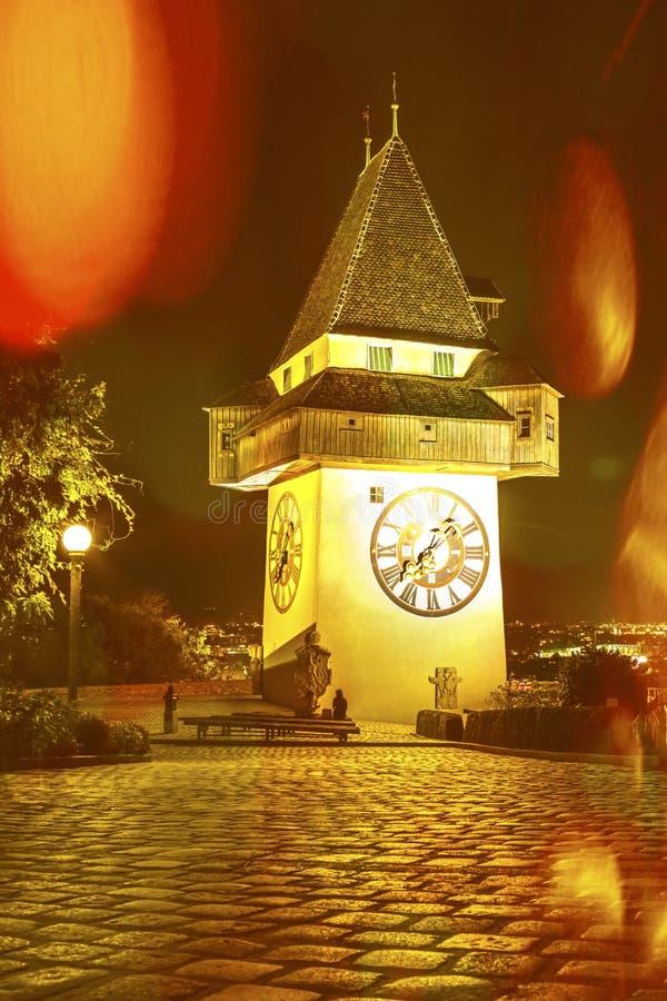 Klokketoren Uhrturm in Graz Stiermarken, Oostenrijk royalty-vrije stock foto