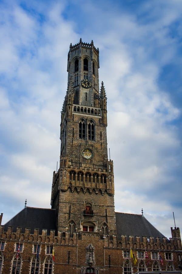 Klokketoren van Brugge stock afbeelding