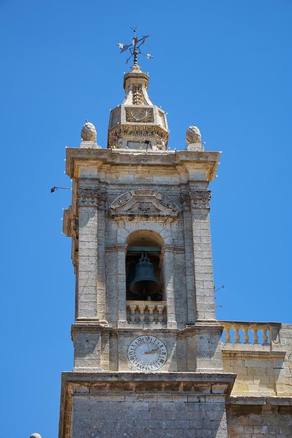 Klokketoren van de Collegiale Kerk van St Paul, Rabat, Malta royalty-vrije stock afbeelding