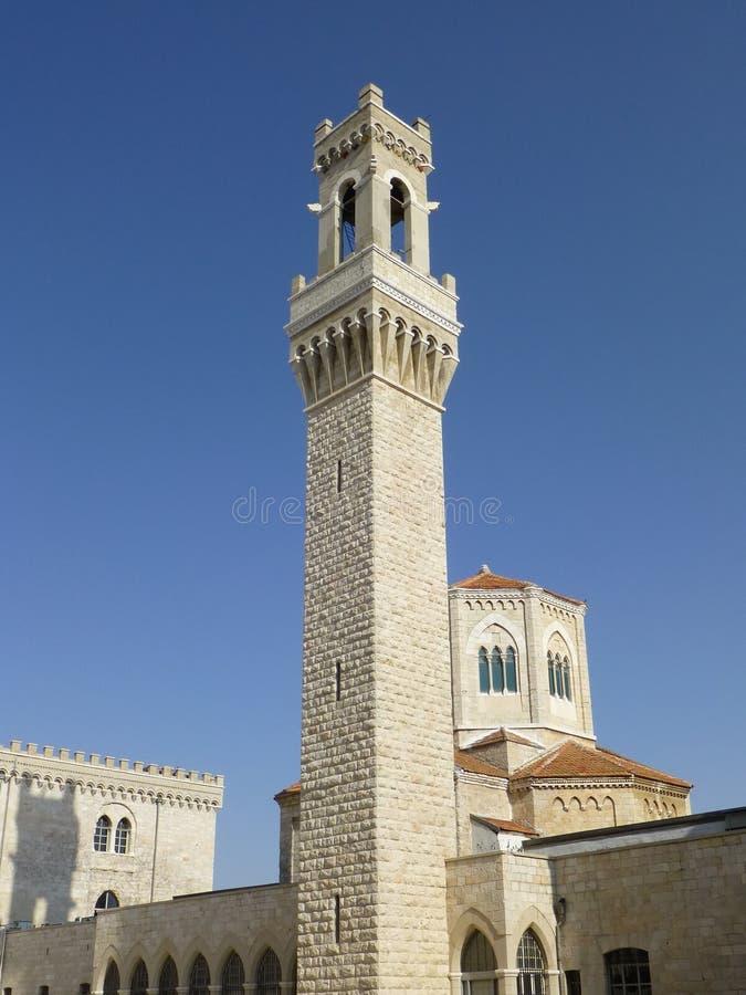 Klokketoren van de kerk van het vroegere Italiaanse ziekenhuis, Jeruzalem, Israël royalty-vrije stock fotografie