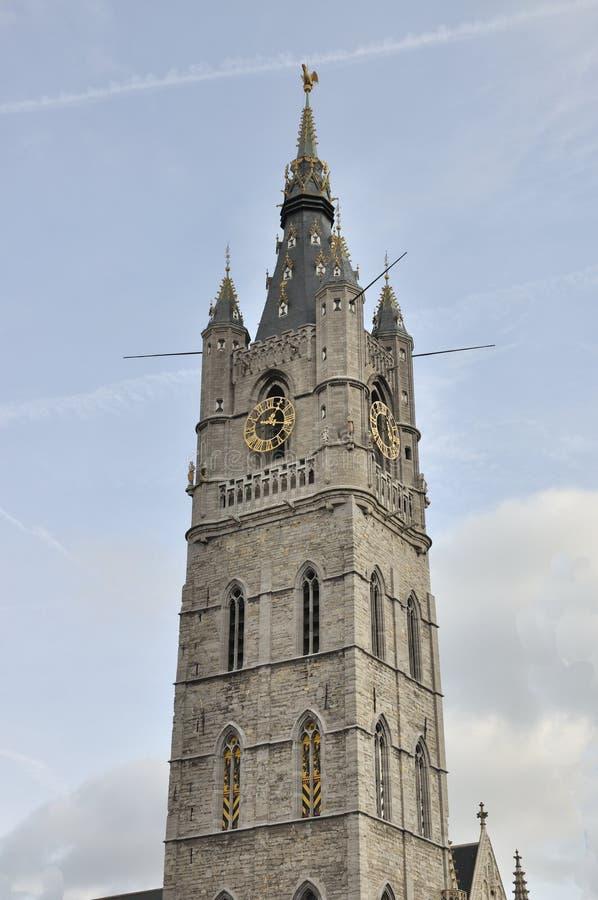 Klokketoren van de klokketoren van Gent België royalty-vrije stock afbeelding