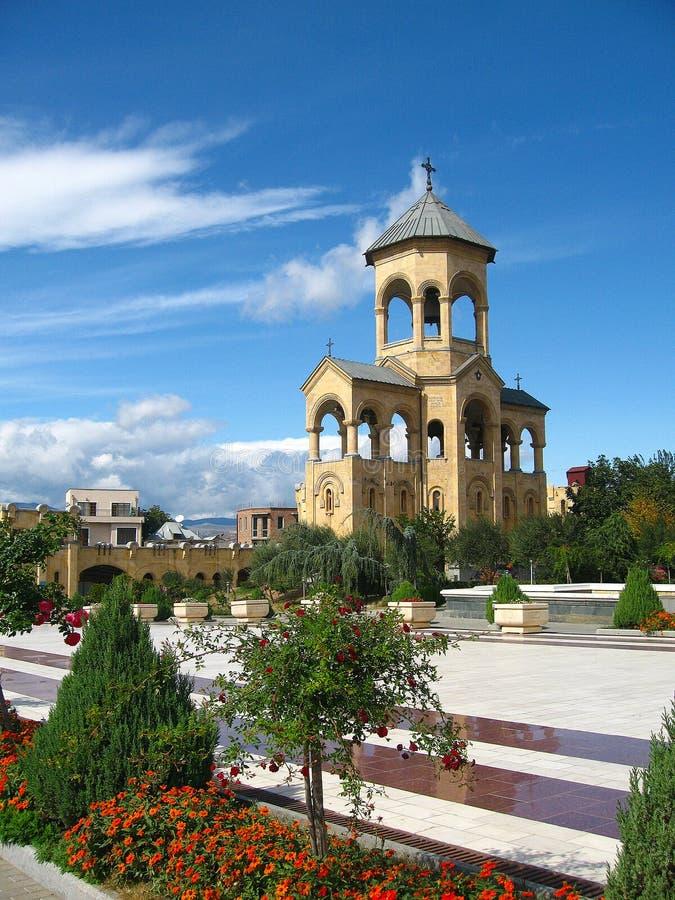 Klokketoren van Heilige de Drievuldigheidskathedraal van Sameba, Tbilisi royalty-vrije stock foto's