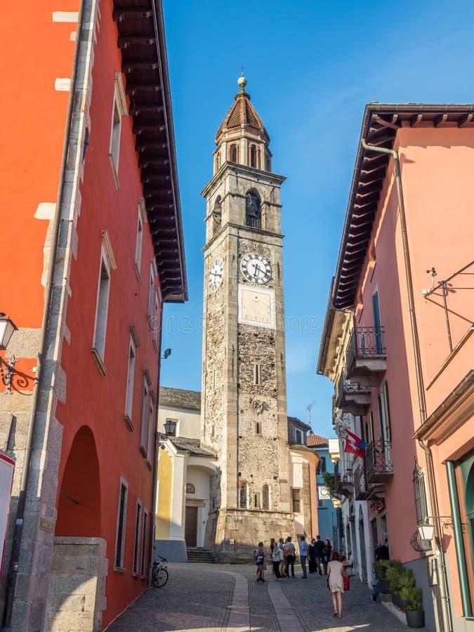 Klokketoren van kerk in Ascona royalty-vrije stock foto