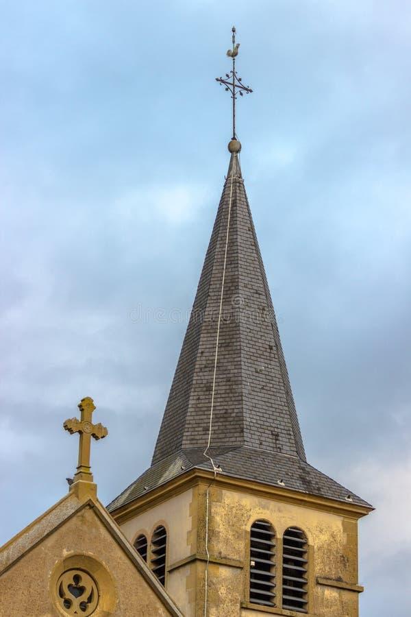 Klokketoren van Kerk, Ennery, Lotharingen, Frankrijk royalty-vrije stock afbeeldingen