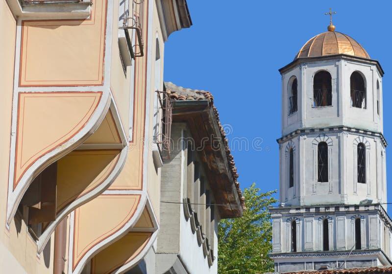 Klokketoren van Kerk van Sveti Konstantin en Elena stock foto's