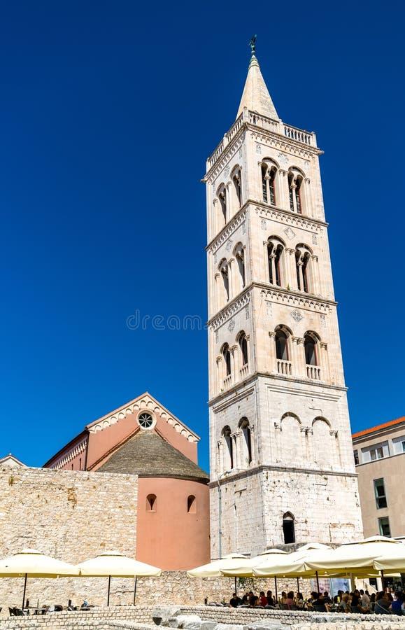 Klokketoren van St Anastasia Cathedral in Zadar, Kroatië stock fotografie