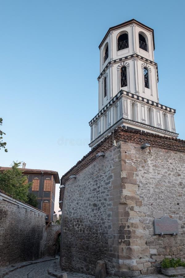 Klokketoren van St Konstantin & Elena Church, Plovdiv, Bulgarije stock afbeelding
