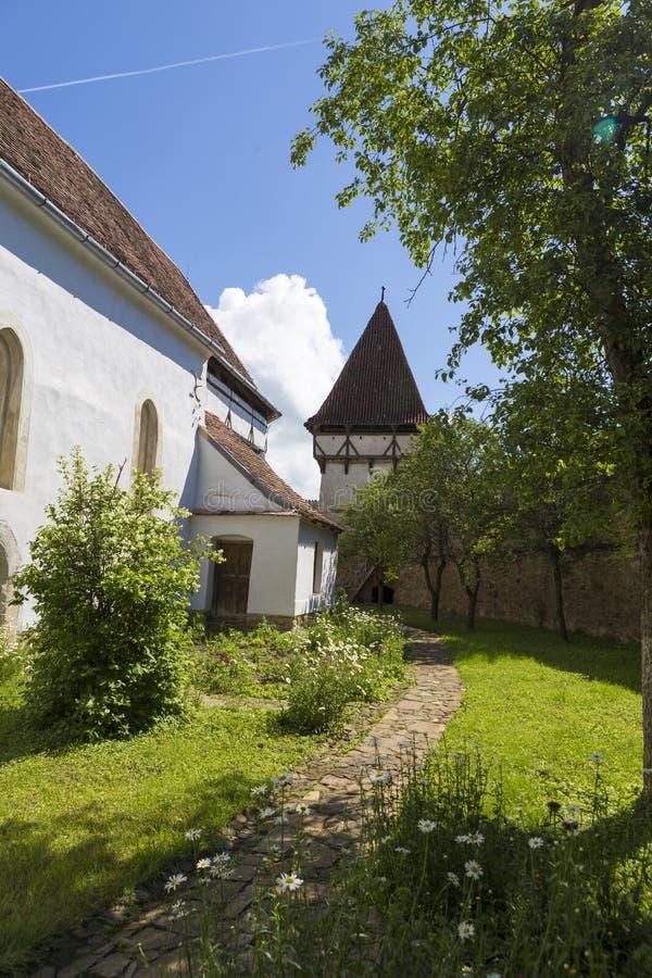 Klokketoren van versterkte kerk van Cincsor royalty-vrije stock afbeeldingen