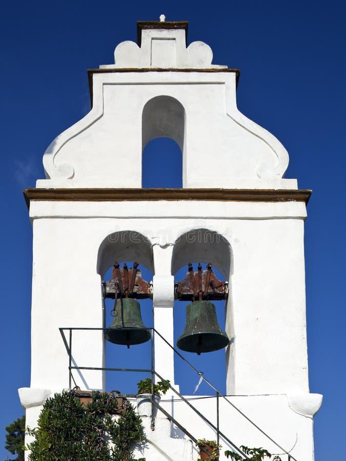 Klokketoren van Vlacherna klooster, Korfu, Griekenland royalty-vrije stock foto