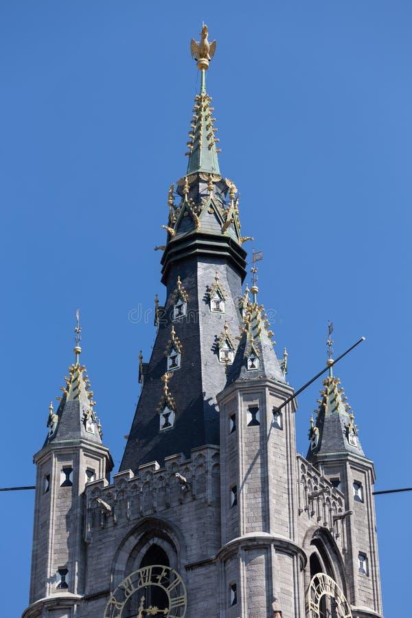 Klokketoren - watchtower - Gent Belfort & x28; Belfry& x29; stock afbeelding