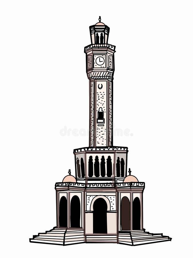 Klokketorenillustratie Izmir die Turkije witte achtergrond trekken royalty-vrije illustratie