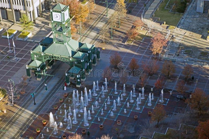 Klokketorenvierkant in Memphis van de binnenstad royalty-vrije stock foto's