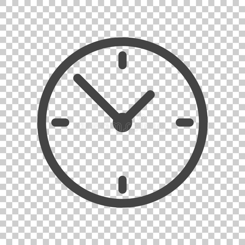 Klokpictogram, vlak ontwerp Vectorillustratie op geïsoleerde backgro royalty-vrije illustratie